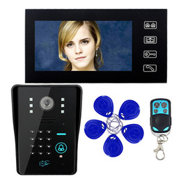 Wholesale Touch Key quot LCD RFID Password Video Door Phone Intercom System With IR Camera TV Line Remote Access Control System F1618A