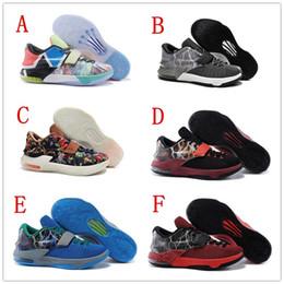 Kd chaussures de vente mens à vendre-Cheap Sale 2016 Ce que le Kevin KD 7 Hommes Chaussures de basket-ball Sneakers KD7 Durant Sport Bottes Taille extérieure 7-12 Livraison gratuite