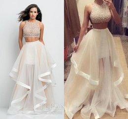 Wholesale Sexy Cross Skirt - Sexy 2016 Two Pieces Dresses Prom Dress Jewel Sleeveless Heavy Beads Handmade Puffy Skirt Tulle Prom Evening Dresses Custom Made
