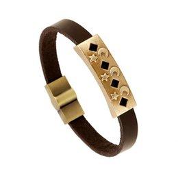 Wholesale 2016 New Arrival Fashion legendary antique copper metal rockers essential Leather Bracelet For loving couple