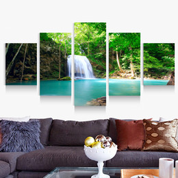 5p modern Home Furnishing HD picture Canvas Print art wall of the sitting room children room decoration theme -- Beautiful green nature fall