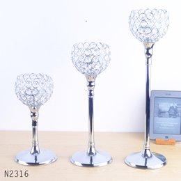 Wholesale chrome wedding handicraft home decoration holidays metal candleholders candlestick Crystal
