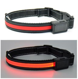 Wholesale Solar energy Nylon Pet Dog Collars Night Safety LED Flashing Glow In The Dark Electric Pets Cat Dog Collar Width S M L