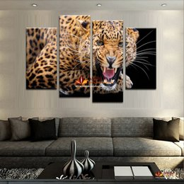 4 Panel Set (No Frame)Yellow Spots Leopard Painting Canvas Wall Art Picture Home Decor Canvas Print Canvas Pictures For Living Room