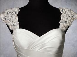 Wholesale Hot Detachable Bolero With Lace Appliques Beaded Wedding Jacket Removeable Cap Sleeve Wedding Accessories Custom Bridal Wraps Shawl Shrug