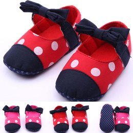 Wholesale Baby Girls Big Dot Princess First Walker Shoes Infant Fabric Prewalker Toddler Antiskid Bow Party Shoe Children Warm Pageant Footwear YW S14