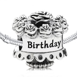 Wholesale Flower Birthday Cake Charm 925 Sterling Silver European Floating Charms Bead Fit Pandora Snake Chain Bracelets DIY Jewelry 112