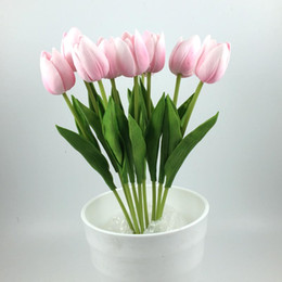 Tulips Display Flower wedding Gift Carnival party decoration artificial flower home decoration PU flower Decorative Flowers free shipping
