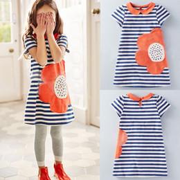Wholesale Girl classic striped dress Doll collar dress Flower appliqued skirt Baby kids one piece Sweet princess dress summer