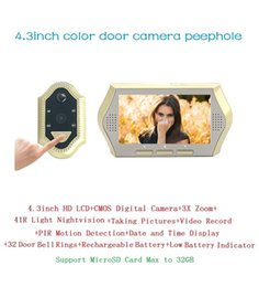 Video Eye doorbell 4.3inch LCD 0.3Megapixels camera IR Night vision 3X Zoom PIR Motion Detection 32 Rings video eye Max 32G