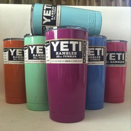 Wholesale 6Colors oz Yeti Cup Stainless Steel Yeti Rambler YETI Coolers Rambler Tumbler Double Walled Travel Mug