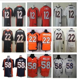 Wholesale 2016 Elite Mens Von Miller Paxton Lynch Demaryius Thomas C J Anderson Stitched Jerseys Orange Free Drop Shipping