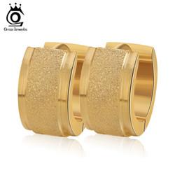 Trendy Simple Hoop Earrings Stainless Steel Metal Mens Women Fashion Jewelry Wholesale Punk Rock Earrings GTE06