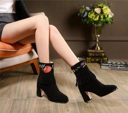Acheter en ligne Longue en cuir femmes boot-Les femmes en cuir véritable à long Bottes 2016 Automne Hiver Mode Femmes Talon Chunky chaud Chaussures de travail Bottes de neige pente noir avec des bottes en cuir N1