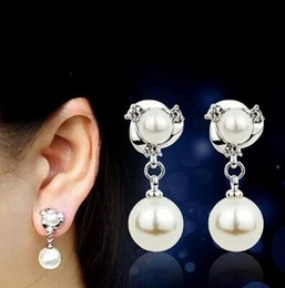 Wholesale Luxury Mother Pearl Fashion - Luxury Women Silver Gold Plated Lovely Dolphin Sparking Crystal Simulated Pearl Fashion Clip Earrings for women