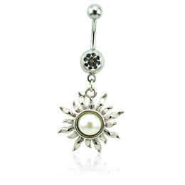 Brand New Belly Button Rings 316L Stainless Steel Dangle White Pearl Flower Navel Rings Piercing Jewelry