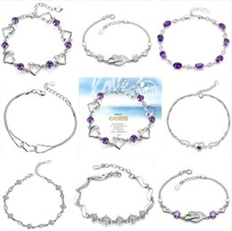 Wholesale 925 sterling silver link bracelets love heart Angel crystal natural amethyst chain bracelet Korean style jewelry Valentine s Day gift