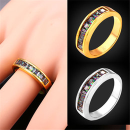 Engagement Rings for Women Wedding Bands Platinum 18K Real Gold Plated Mystic Topaz Cubic Zirconia Band Ring
