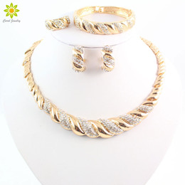 New African Jewelry Sets 18K Gold Plated Trendy Necklace Earrings Bracelet Women Gold Plated Jewelry Set Wedding Accessories