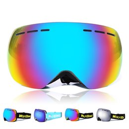 Wholesale WOLFBIKE Brand Fashion ski goggles Multi Color lens double UV400 anti fog big ski mask glasses snowboard skiing goggles with free bag