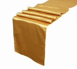 Wholesale 100pc quot quot cheap plain antique gold satin table cloth runner wedding for round table