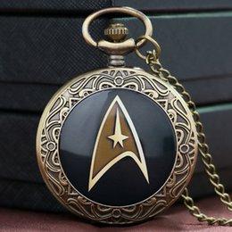 Wholesale Hot Sale Style Cool Star Trek Theme Black Case Design Quartz Pendant Pocket Watch With Chain Necklace