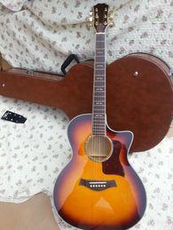 Acoustique de érable flammé à vendre-OEM Chine a fait couper la guitare acoustique, le dessus en bois massif, le contre-plaqué d'érable de flamme et les guitares latérales, modèle No.612