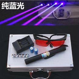 Wholesale High Power laser pointers mw Adjustable Focus Blue laser pointer laser heads of flashlight glasses Gift box