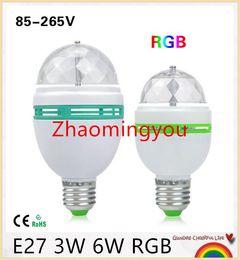 1Pcs E27 3W 6W LED lamp RGB Auto Rotating Stage light Holiday Bulb AC85V-265V For Home Decoration Disco DJ Party Dance lighting