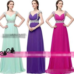 Wholesale SD179 Modest Long Full Length Evening Dresses with Rhinestone Beads Cap Sleeves for Women Sale Cheap Mint Chiffon Prom Gowns k15 Party Wear