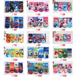 Wholesale DHL New D Cartoon Socks Children Baby Girls Boy Kids Cotton Printed Socks Frozen Elsa Anna Minion Minnie Mickey Super Hero Iron Cars