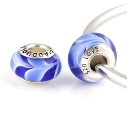 60 Pcs a Lot Silver Plated Blue Glass Beads DIY Charm Round Shape Fit For Pandora Charms Bracelet