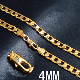 High Quality 4mm Flat Sideways Necklaces Gold Authentic Plate 18K Solid Gold Men's Women Cuban Link Chain Necklace 20inches