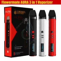 Wholesale Original Flowermate AURA Vaporizer Starter Kit mAh Dry Herb waxy oil in1 e liquid Vape Pen E Cigarettes huge capacity Herbal Vaporizer