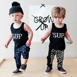 Wholesale 2016 INS summer new Newborn baby sets outfits Toddler clothes SUP tank pants sports pure cotton retail drop shipping T
