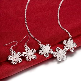 Factory direct sale high grade 925 sterling silver Smooth Flower Set jewelry sets DFMSS811 brand new wedding free shipping 925 silver
