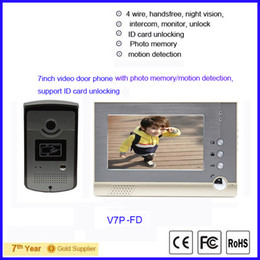 """free shipping 4 wire 7"""" video door phone intercom with photo memory support ID card unlocking"""