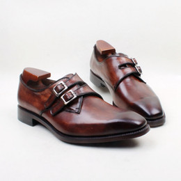Men Dress shoes Monk shoes Oxfords shoes Custom handmade shoes Square toe double buckles genuine calf leather Color Dark Brown HD-N139