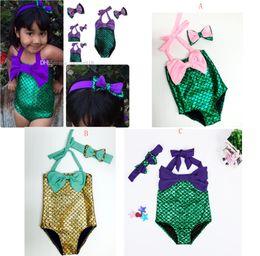 Baby Girls Swimwear Hairband 2pcs set Mermaid Swimsuit Costume Girls Mermaid Swimsuit Bathing Swimwear Bowknot Bikini Suit C629