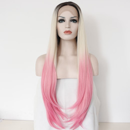 Wholesale Lace Front Red Cosplay Wig - straight long wig 2ombre color cosplay synthetic lace front wig for beautiful girl gifts glueless natural new style