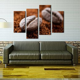 Wholesale 4 Panel Wall Art Brown Coffee Bean Wall Art Painting The Picture Print On Canvas Food Pictures For Home Decor Decoration