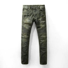 Wholesale New Mens Camouflage balmain jeans for men Motocycle Camo Military Slim Fit Famous Designer Biker Jeans With Zippers Men Plus size