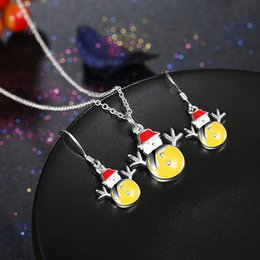 Wholesale Christmas Jewelry Sets Women lovely Christmas Snowman Necklace and Earrings Sets Silver Plated Jewelry Blue Yellow Color Christmas Gifts