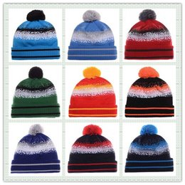 Wholesale Hot Sale Cotton Knit American Football Team Pom Pom Beanies Hat Striped Cuff Winter Hats For Men Basketball Skullies Mix Order