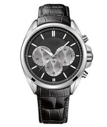 Mens Watch HUGO 1512879 Chrono Genuine Leather Black