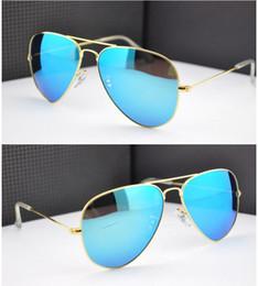 Wholesale Las gafas de sol del espejo del flash de la marca de fábrica de las mujeres de los hombres de las gafas de sol del verano ULTRAVIOLETA protegen la venta caliente de la caja de cuero original de las gafas de sol auténticas de BanDtun del diseñador