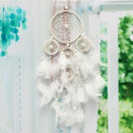 Wholesale 1PCs White Feathers Circle Dream Catcher Beaded with Circles Home Room Wall Hanging Decoration Decor Wind Chime Craft Gifts