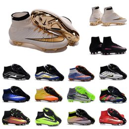 Wholesale 2016 MERCURIAL SUPERFLY CR SG PRO fit adult Artificial turf high soccer shoes Natural Hard turf with CR7 Outdoor soccer shoes