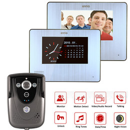 Color Touch Screen Video Door Phone With PIR Record Intercom System with 2 Monitors With power supply and terminal wire