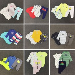 Wholesale cartoon dog dinosaur fox bird deer monkey car boys clothing sets bodysuits children One Pieces baby jumpsuit rompers kids Joggers trousers